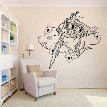Tattoo Machine Wall Decal Studio Poster Vinyl Sticker Home  Ideas Room Interior Design Art Salon Decorate WL1975