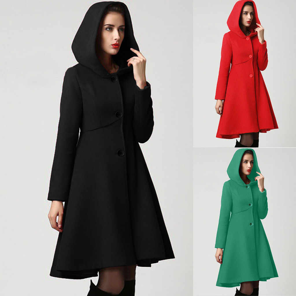 여성 패션 후드 케이프 풀오버 레이디 우아한 허리 포켓 겨울 따뜻한 코트