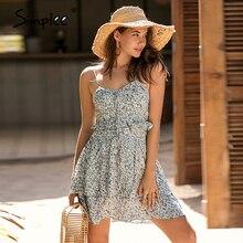 Simplee 민소매 꽃 무늬 여름 드레스 여성 높은 허리 레이스 업 프릴 미니 드레스 비치 boho 드레스 여성 vestidos 2019