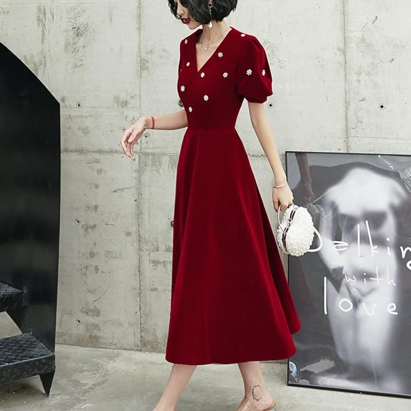 Wedding Party Dresses In The Autumn Of 2020 Or More At Ordinary Times Can Wear Engagement Female Wine Red Velvet Dress