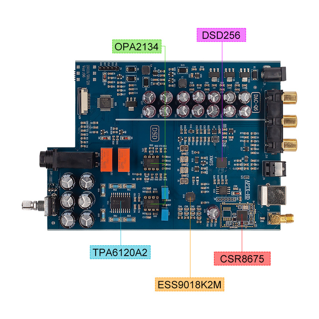 Febre de alta fidelidade dsd decodificador dac lossless decodificação amp usb fibra coaxial bluetooth 5.0 pré-amplificador com amplificador de fone de ouvido para diy