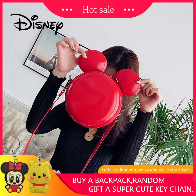 2019 Disney Backpack Mickey Mouse Women Bags Mickey Shoulder Diagonal Bag Casual Fashion Girl PU Small Round Bag Birthday Gifts