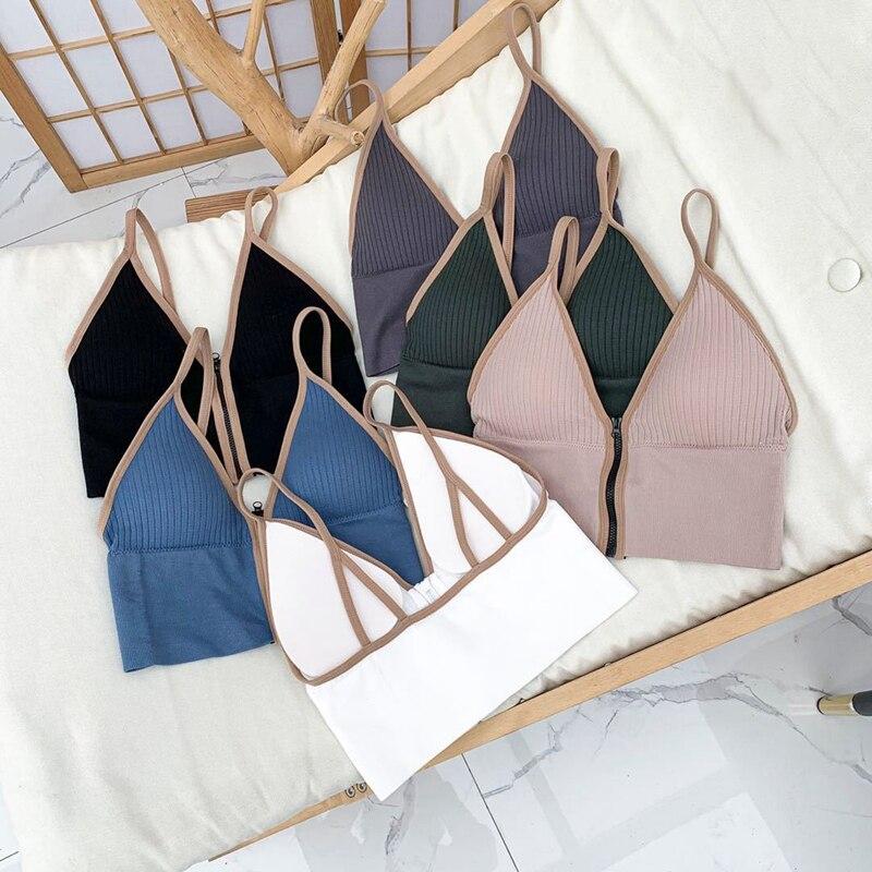 Sexy Zipper Crop Tops Brassiere Women Camisole Lingerie Sleeveless Female Tank Top Sport Bra Slim Fit Bralette Tube Top