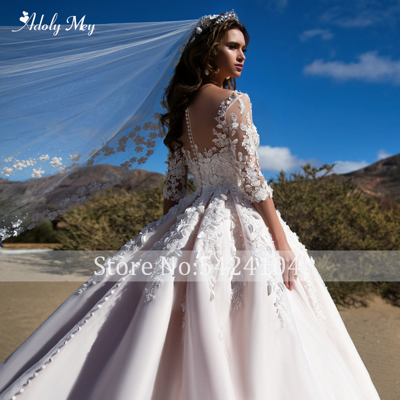 Image 3 - Adoly Mey Romantic Scoop Neck Half Sleeve A Line Wedding Dress 2020 Gorgeous Appliques Flowers Princess Customized Wedding GownWedding Dresses   -