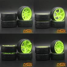 4 шт. RC 1:10 Дрифт Автомобильные пластиковые колесные диски и шины для HSP 94123/D4/D3 зеленые шины