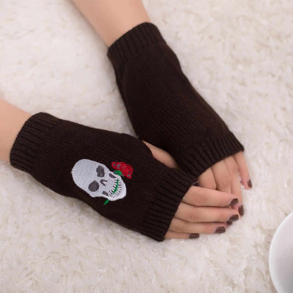 Sonbahar kış bilek eldiven kadınlar için rüzgar geçirmez sıcak örme parmaksız kafatası baskı eldiven açık kayak eldiven kadın eldiven