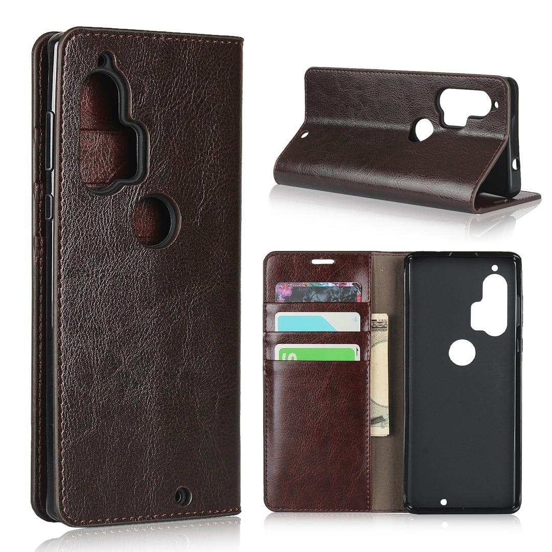 Vintage Genuine Leather Case For Motorola Moto Edge Plus Cover Luxury Crazy Horse Pattern Wallet Book Case For Moto Edge Plus