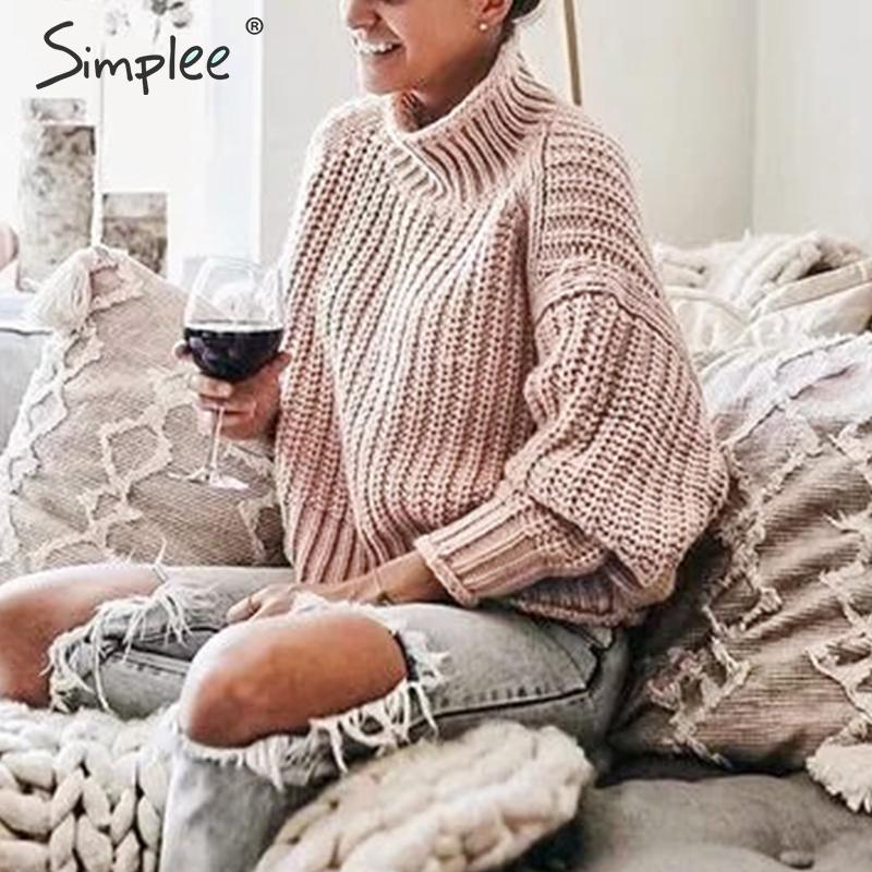 Simplee Turtleneck Women Pullover Sweater Autumn Winter Long Sleeve Oversize Female Sweater Solid Casual Ladies Jumper