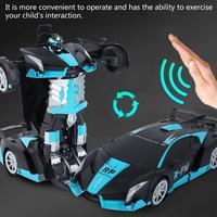 Induction Transformation Robot Transform Car Robot Remote Control Car Robot Children Model Toy One Button Transformation car toy