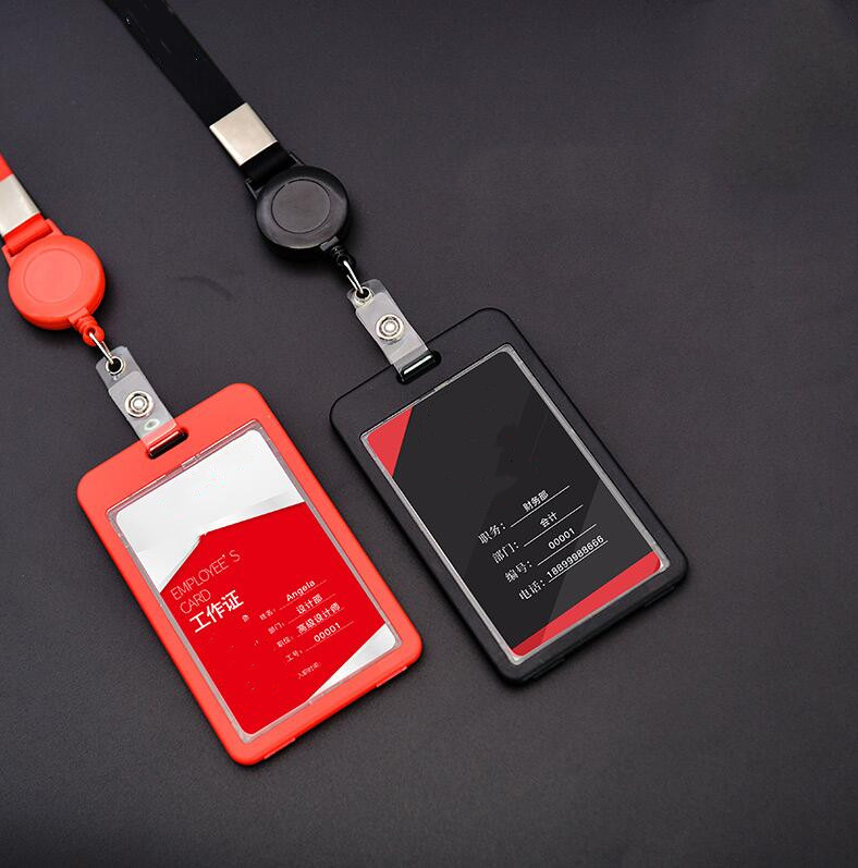 Simple Badge Card Case With Retractable Pull Badge Lanyard