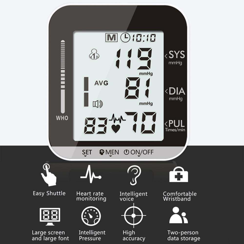Image 5 - OLIECO Elettrico Monitor di Pressione Sanguigna del Polso di Trasmissione Voce 2 Persona di Dati di Memoria Grande Schermo LCD Tonometro SfigmomanometroPressione sanguigna   -