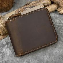 Luufan кошелек из натуральной кожи на молнии для мужчин и женщин, короткий кошелек из натуральной коровьей кожи с карманом для монет, кошелек н...