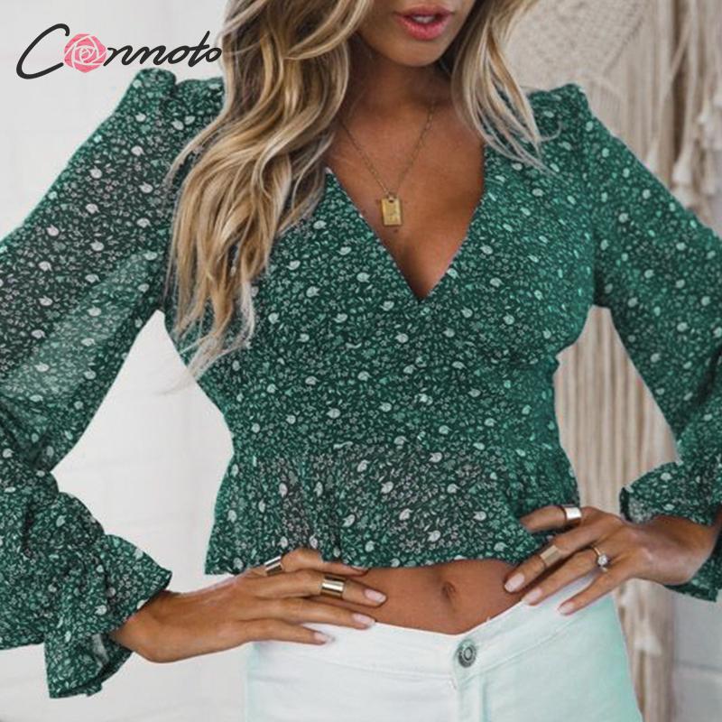 Conmoto Ruffles Fall Winter 2019 Vintage Blouse Women Sexy Deep V Club Blouses Tops Ladies Lantern Sleeve Mujer Blusas
