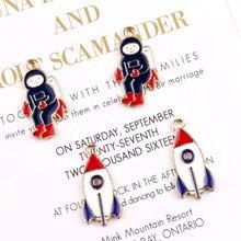 10pcs DIY Jewelry Accessories Enamel Charms Rocket Astronaut Alloy Pendants Earrings Bracelets Floating Handmade FX095