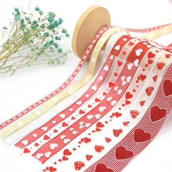 10m Organza serce wstążka świąteczny prezent Handwork DIY miłość wstążka z przędzy ślub dekoracja urodzinowa akcesoria do pakowania rzemiosła
