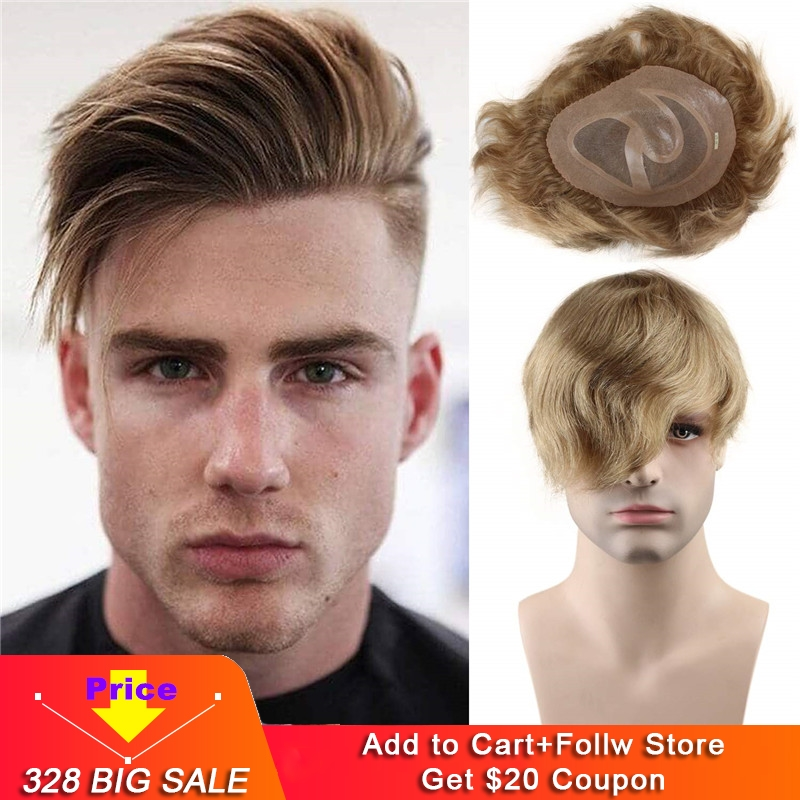 Men's Toupee 10x8 European Human Hair Swiss Mono Lace Thin Skin Hairpiece Hair Replacement System For Men Toupee #21 Ash Blonde