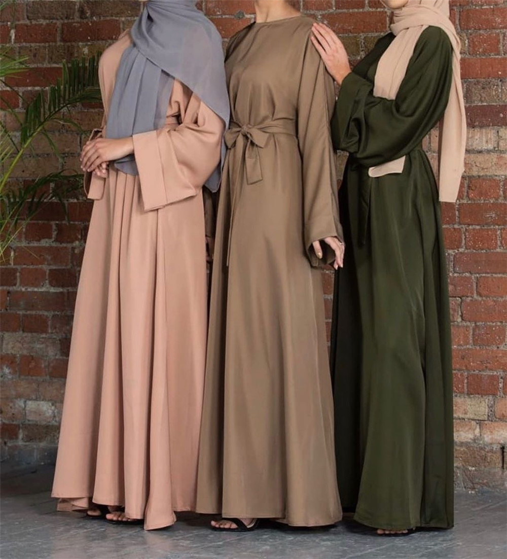 Muslim Fashion Dresses Islamic Women's Clothing Middle East Turky Solid Color Plus Size Long Dress Muslim Casual Arabic Dress 2