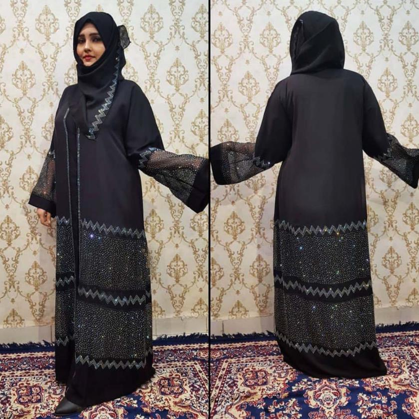 Diamond Beading Opened Abayas Muslim Abaya Female Full Length Prayer Kimono Islamic Cardigan Robes With Scarf F1518