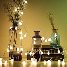 Сказочный светильник s внутренний 1,5 м 3 м 10 м шар гирлянды светодиодный светильник струнная батарея питание гирлянда светодиодный светильник s украшение для свадебной вечеринки лампа