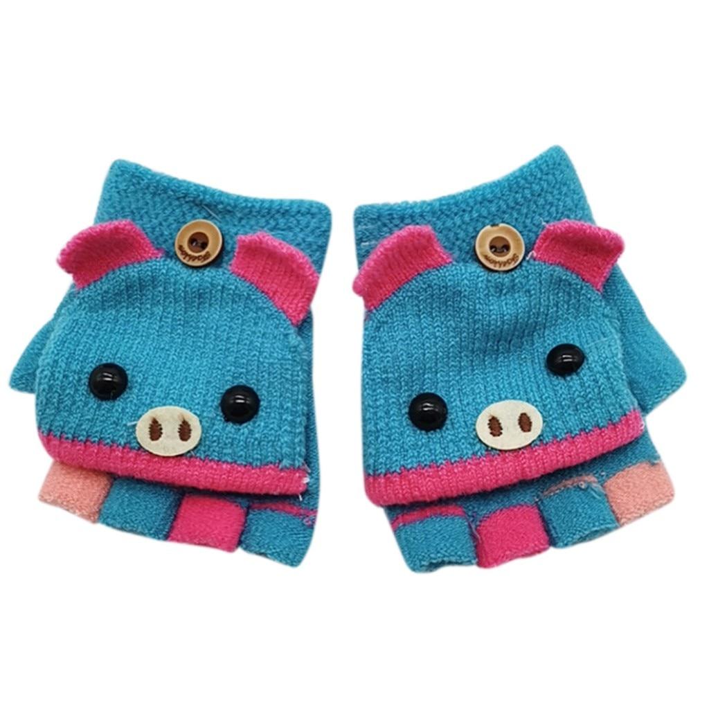 Детские зимние теплые вязаные варежки без пальцев, вязаные перчатки, удобные перчатки для девочек - Цвет: C