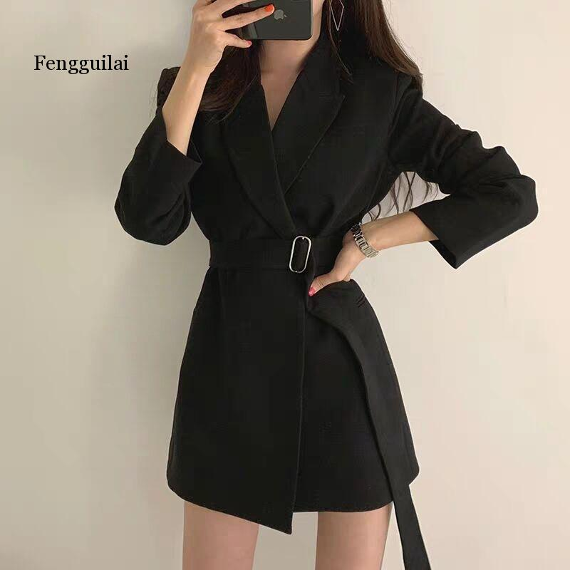 Women Blazer Coat Notched Collar Long Sleeve Belted Slim Autumn Coat Casual Long Blazer Jacket Outfit High Quality