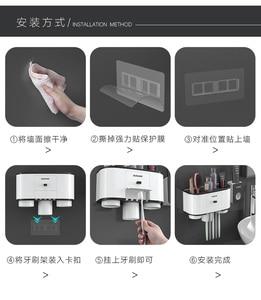 Image 5 - YCOO 칫솔 홀더 자동 치약 디스펜서 스 퀴저 벽 마운트 공간 절약 칫솔 주최자 방진 Cov
