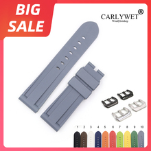 CARLYWET 22 24mm Hot Sell Top Quality White Yellow Waterproof Silicone Rubber Replacement Watch Band Strap For Panerai Luminor
