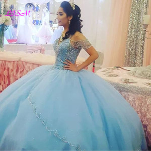 Image 1 - Luxury Crystals Ball Gown Quinceanera Dresses Sweetheart Long Sweet 16 Princess Dress Puffy Tulle Prom Party Gowns Custom Made