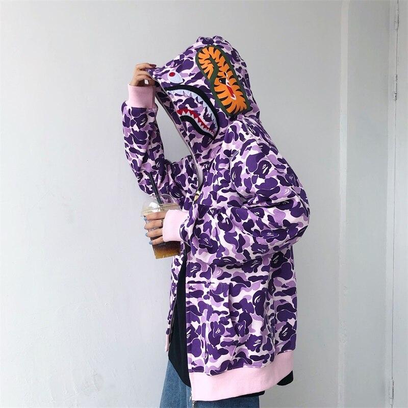 Худи женское камуфляжное в стиле Харадзюку, свитшот с японской акулой, худи свободного покроя в стиле хип-хоп для девушек и женщин на раннюю ...