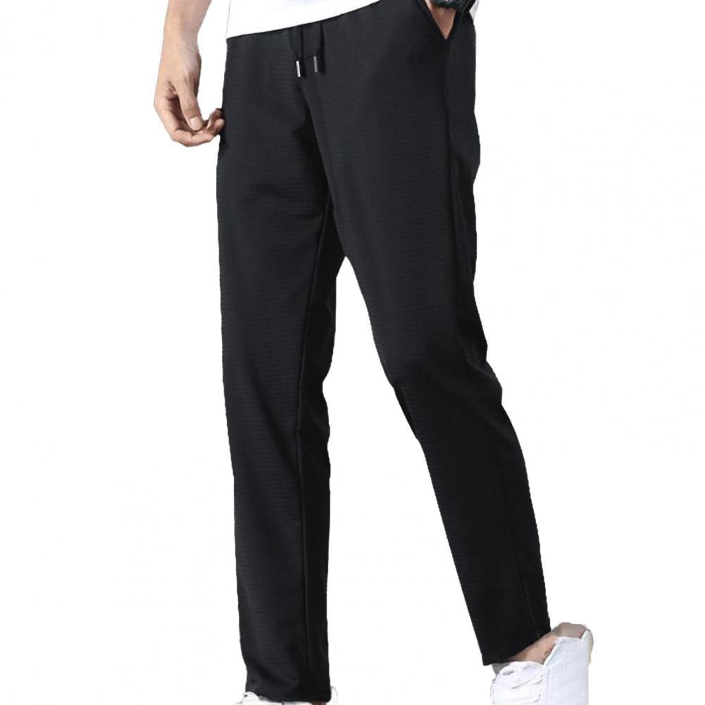 Fashion Summer Mid Rise Elastic Waist Straight Ninth Pants Ice Cool Loose Men Trousers