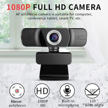 USB HD 1080P Webcam Built in Double Microphone 2MP Manual Focus 120 Degree Wide Angle for Youtube Streaming PC Laptop