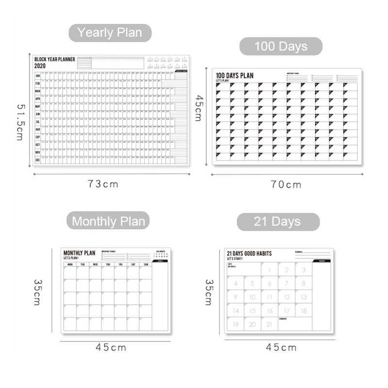 Phantaci 2020 bloco ano planejador diário plano papel calendário de parede com 2 folha eva mark adesivos para escritório escola casa