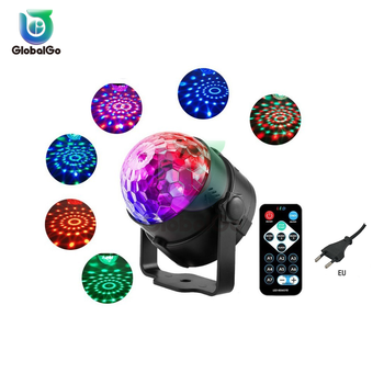 Sound Activated Rotating Ball Party Lights Strobe Light 3W RGB LED Stage Lights For Christmas Home KTV Wedding Show 3w 30 led strobe rgb light christmas tree style decorative string light 220v 2 round pin plug