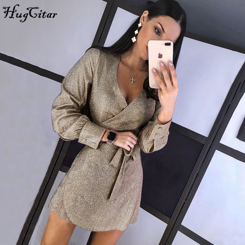Hugcitar 2019 Long Sleeve Shining Wrapped Bandage Belt Sexy Mini Dress Autumn Winter Women Party Outfits Christmas Streetwear
