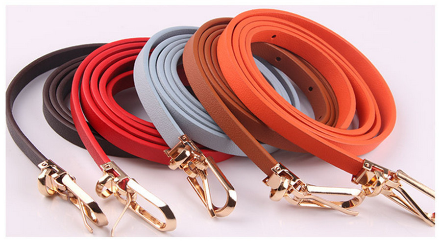 2020 New Multicolor Decorative Dress With Sweater Thin Belt Ladies Wild Rectangular Alloy Pin Buckle PU Small Belt