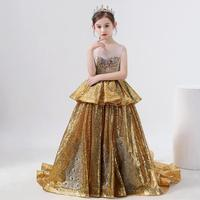 New Luxury Gold sequin flower girl dress Sleeveless High end show princess gown Modis Kids Wedding Party Dress Vestidos Y2035