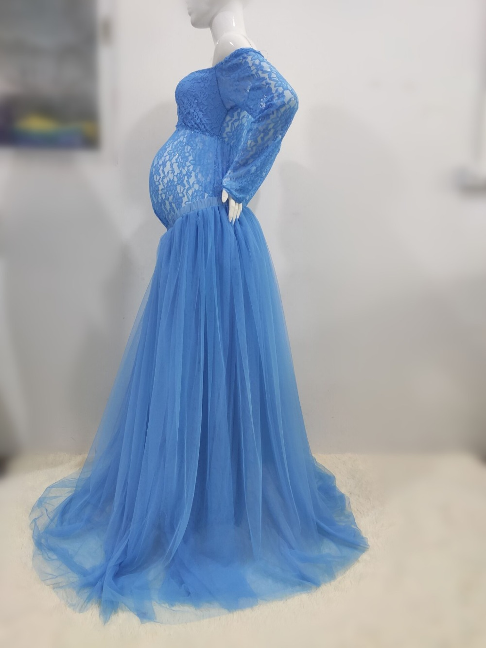 Sexy Lace Maternity Photography Props Long Dress Baby Shower Fancy Pregnancy Dress Photo Shoot For Pregnant Women Mesh Maxi Gown (13)