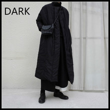 [DARK] Homemade Winter Yoji Yamamoto Dark Black All-match Waist Drawstring Long Cotton-padded Jacket, Black And White