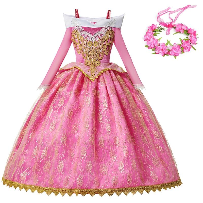 Vestido de princesa Aurora de fiesta de lujo de YOFEEL disfraz de la Bella Durmiente para niñas vestido de baile rosa de cumpleaños de Navidad disfraces de princesa