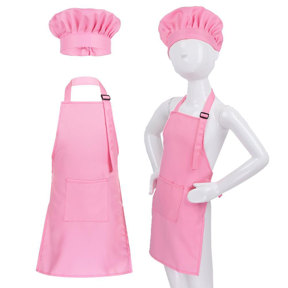 Unisex Kids Adjustable Apron And Chef Hat Set Kitchen Cooking Uniform Baking Painting Training Wear Boys Girls Halloween Costume