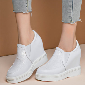 Casual Shoes Women Genuine Leather Wedges High Heel Platform Pumps Shoes Female Round Toe Fashion Sneakers Punk Oxfords Shoes