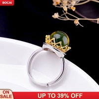 S925 blue yellow semi precious stone women's ring jewelry listed on the new queen of fashion atmosphere crown open rings