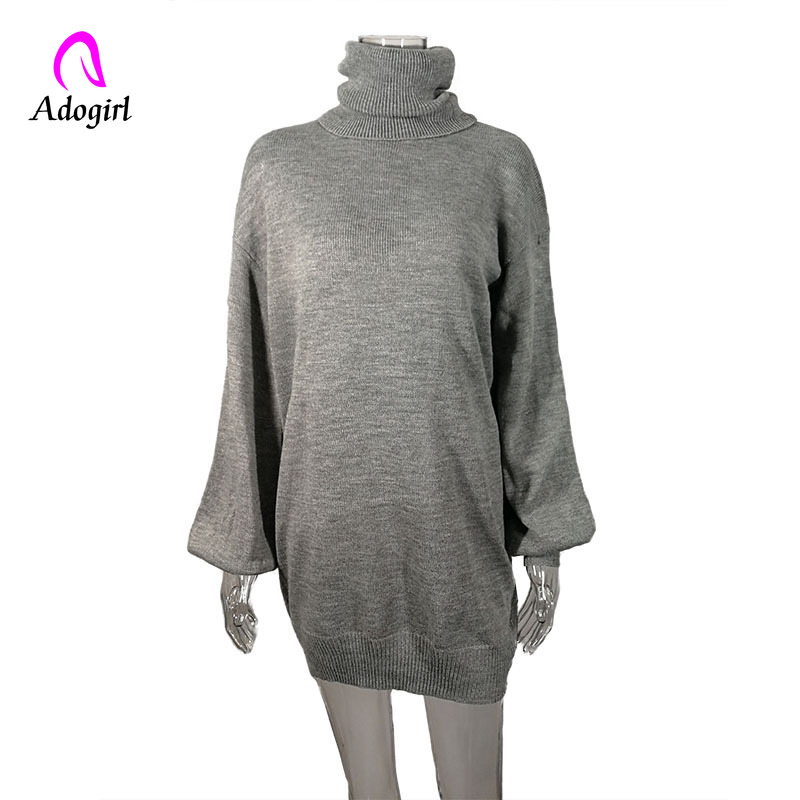 Adogirl Red Gray Elegant Knitted Dress Women Autumn Turtle Neck Female Sweater Dress Sexy Holiday Solid Ladies Winter Vestidos in Dresses from Women 39 s Clothing