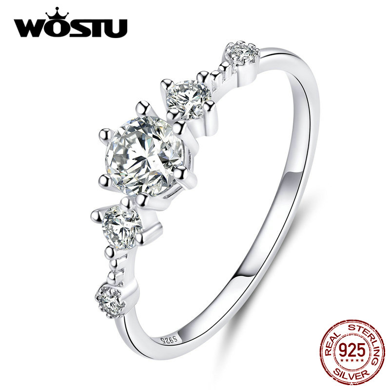 WOSTU 100% Real 925 Sterling Silver Bright Zircon Wedding Ring For Women Delicate Engagement Lover Rings Fine Jewelry CQR568