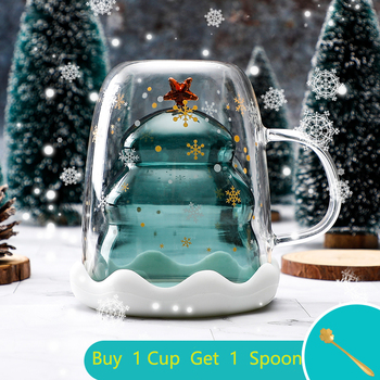 Christmas Cup Transparent Double Anti-Scalding Glass Christmas Tree Star Cup Coffee Cup Milk Juice Cup Children's Christmas Gift image