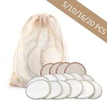 Tampons démaquillants réutilisables en coton de bambou, 5/10/16/20 pièces, tampons démaquillants à trois couches, lavables, tampons nettoyants pour le visage, outils de beauté