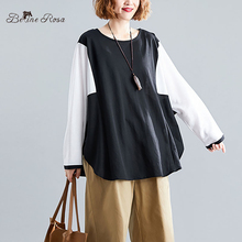 BelineRosa Plus Size Women's Shirts European Casual Contrast Color Black White Long Sleeve Batwing T-shirts Female YXWY0003 contrast panel batwing sleeve tee