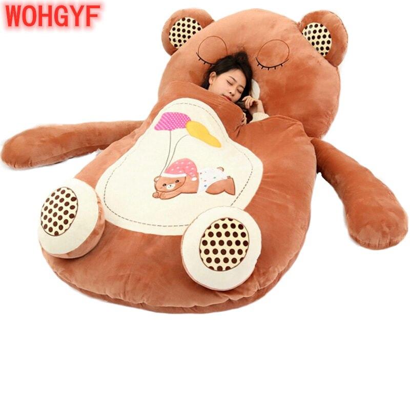 Гигантский мультяшный спальный мешок, мягкие плюшевые животные, погремушка, лягушка, медведь, обезьяна, кровать, ковер, диван татами, коврик