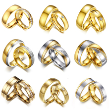 Vnox Gold Color Wedding Bands Ring for Women Men Jewelry Stainless Steel Engagement Ring Couple Anniversary