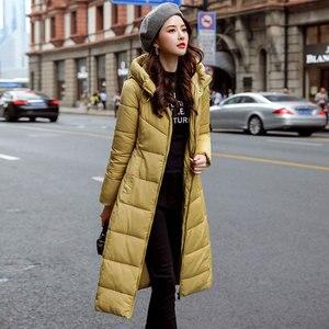 Image 2 - Lange Hooded Thicken Slim Warm Down Jassen Vrouwen Casual Solid Pockets Rits Winter Katoen Uitloper Vrouwelijke Plus Size Jas Jassen